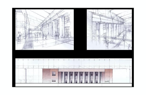 Interior of the Lobby from the Entrance and from the Bridge, Section/ Interior Elevation of the Lobby