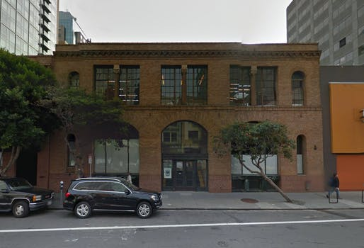 The brick building that will soon house a San Francisco Gagosian Gallery, designed by Kulapat Yantrasast of wHY. Image via Google Maps