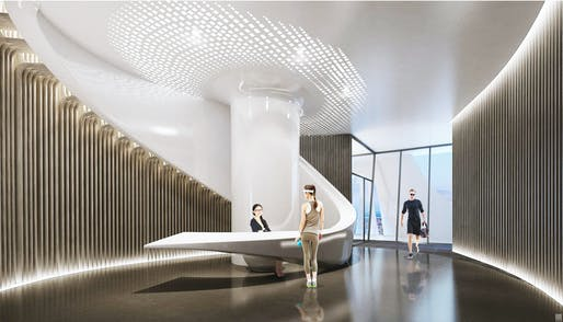 A VR shot of 1000 Museum Lobby, a Zaha Hadid project in Miami. Image: 1000 Museum Brochure