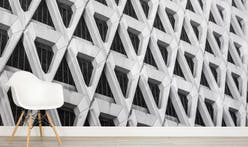Concrete effect wallpaper brings brutalism inside
