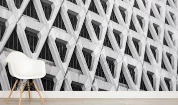 Concrete effect wallpaper brings brutalism inside
