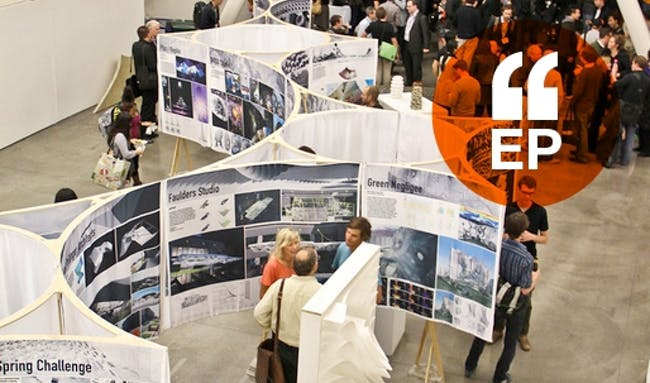 CCA Architecture show in the Nave, the campus' main drag and exhibition space. Image credit- Jim Norrena, courtesy of CCA