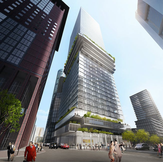 BIG was recently selected to design the new Metzle Tower in Frankfurt. The mixed-use tower features twisted plates right in the midde. Image: Bjarke Ingels Group.