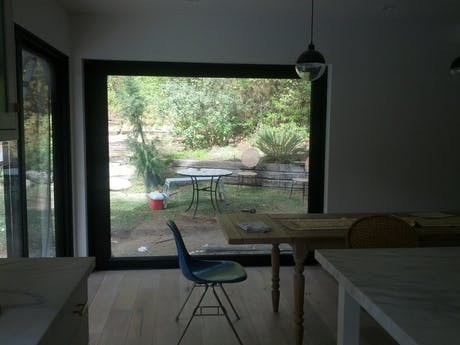 Custom designed sliding glass exterior barn doors, designed by us!