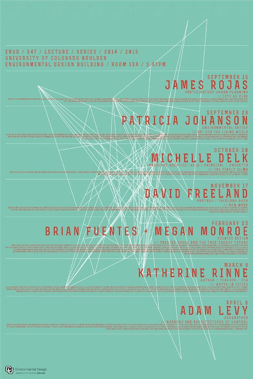 '5:47 Lecture Series' at the University of Colorado, Boulder. Poster design: Charles Newmyer. Courtesy of Charles Newmyer.