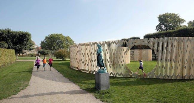 FABRIC's Trylletromler temporary pavilion in King's Garden, Copenhagen. Photo by Walter Herfst, courtesy of FABRIC.