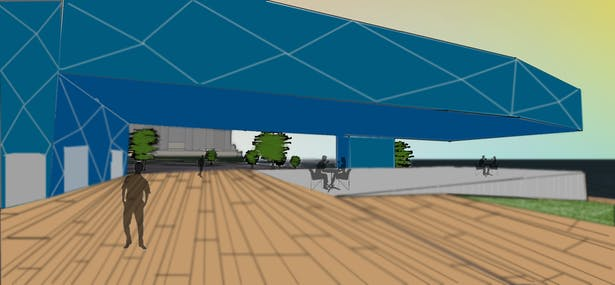 Boardwalk with restaurant Cantilever