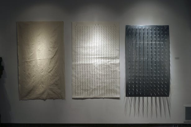 canvas/needles, paper/nails, steel sheet/galvanized spikes