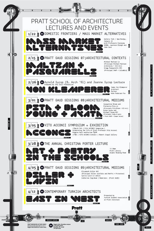 Poster design: Richard Sarrach. Courtesy of Pratt School of Architecture.