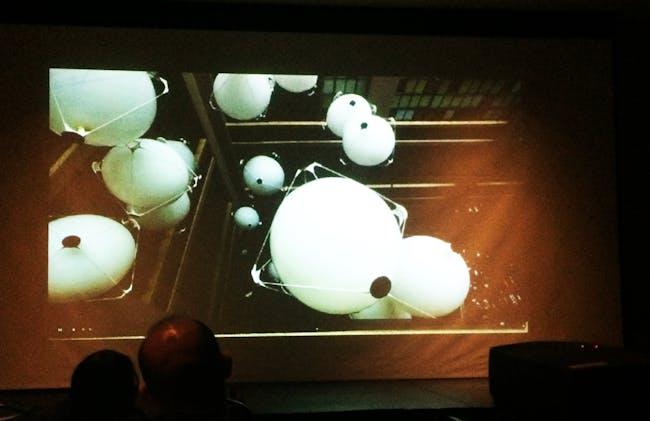 Skylar Tibbits presentation. Photo by Anthony Morey.
