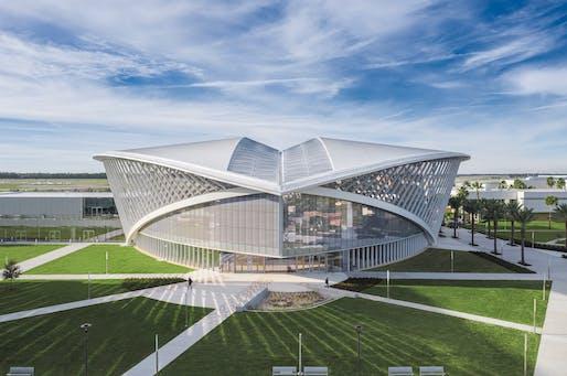 $15 million to $75 million - National: Mori Hosseini Student Union - Embry-Riddle Aeronautical University, Daytona Beach, Fl. Structural engineer: Thornton Tomasetti. Architect: ikon.5 architects. Photo: Brad Feinknopf.