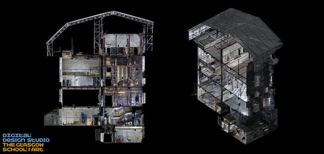 sectional view of the Mackintosh Building looking from east to west and west to east. Image: The Digital Design Studio at The Glasgow School of Art.