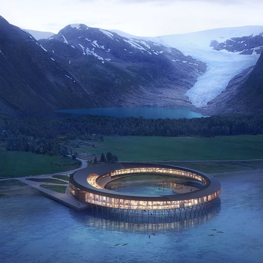 "Snøhetta's concept for the ""Svart"" hotel in Norway. Rendering © Snøhetta/Plompmozes."