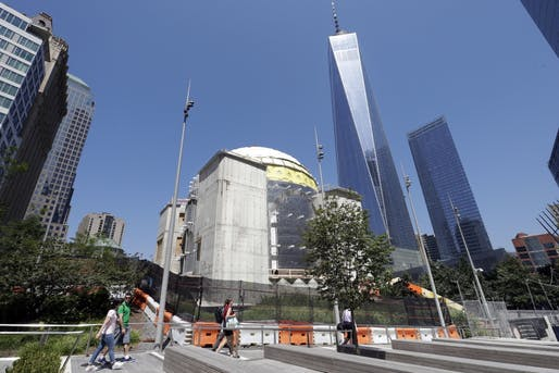 Work has currently been halted at the Santiago Calatrava-designed St. Nicholas National Shrine construction site in Lower Manhattan. Image via the Archdiocese's website.