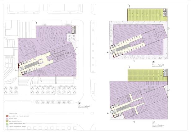Board 3: Floor plans, levels 1-3