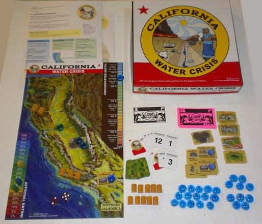 "The California Water Crisis board game by Alfred Twu: ""Cities and farms both need water, and you're stuck with hard choices."" (Image via thegamecrafter.com)"