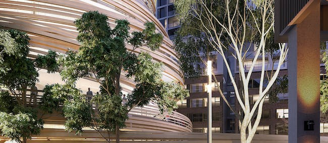 A render of the 'Darling Exchange.' Image credit Kengo Kuma Architects / the City of Sydney