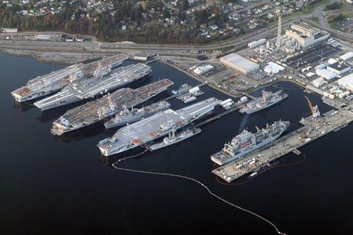 Puget Sound Naval Shipyard + Intermediate Maintenance Facility in Bremerton, WA in 2012. Visible are the aircraft carriers Independence, Kitty Hawk, Constellation, and Ranger -- with the latter two already being scrapped. Photo: Jelson25 via Wikipedia.