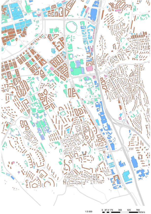 Analyze part I: 1:10000 surounding buildings category evaluation