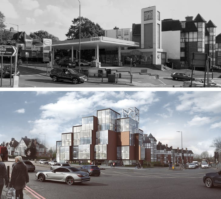 Tower Station, which has received planning permission, is a pixelated residential building replacing a derelict petrol station, on Finchley Road in London.
