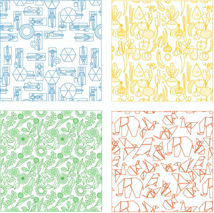 ECO-MONOPOLY abstract patterns for public areas (clockwise from top left): Golden Beach, Farmers Market, Zoo, Botanical Garden. Image: Jia Ma.