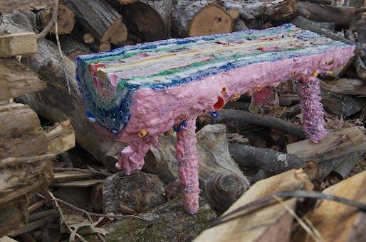 """Misha Kahn's """"Pig Bench"""", image via http://cargocollective.com/milan2013nyc."""