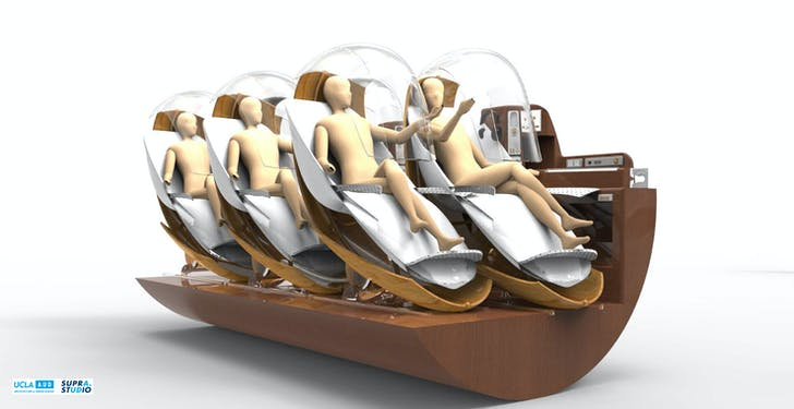 UCLA A.UD Hyperloop SUPRASTUDIO Seating arrangement and individual pods. © 2015 The Regents of the University of California UCLA Hyperloop SUPRASTUDIO team. Courtesy of UCLA Architecture & Urban Design.