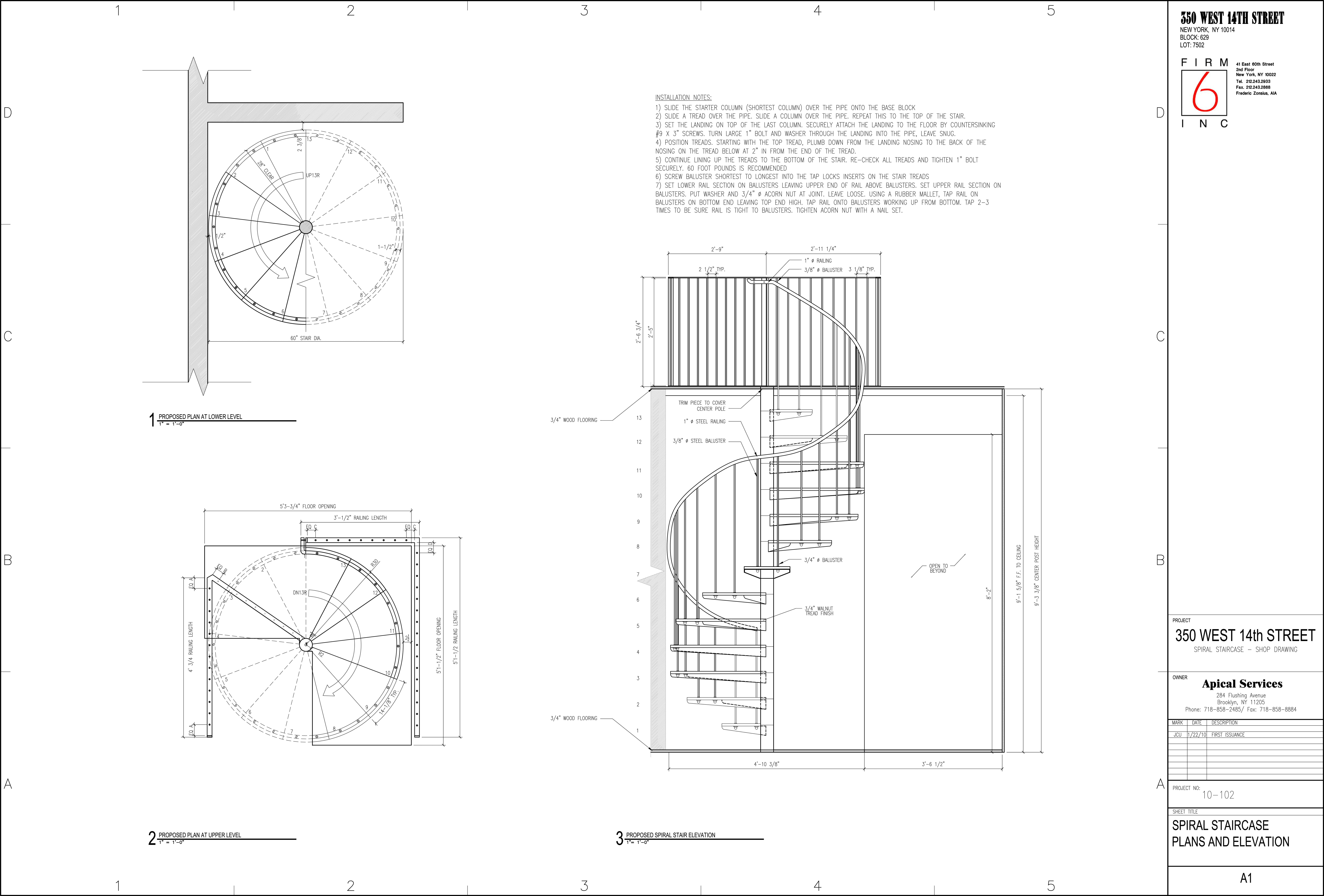 Spiral staircase for a duplex in chelsea juan carlos for Curved staircase design plans