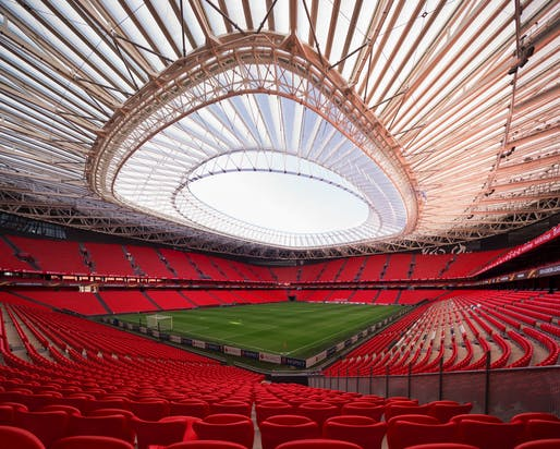 San Mames Football Stadium Cable Roof Extension, Bilbao, Spain, by IDOM. Photo: IDOM.