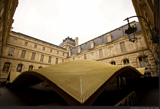 """The Louvre's new """"luminous veil,'' or """"flying carpet"""" as it has also been called, covers some 30,000 square feet of gallery space on the ground and lower floors via NYT"""