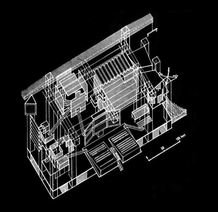 Fun Palace Axonometric, by Cedric Price and Joan Littlewood