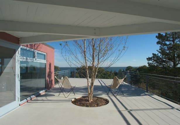 CONNECTICUT SHORE HOUSE – Concrete deck with view of L.I. sound