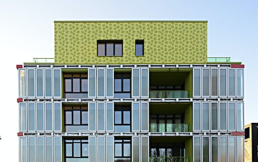 The bio-reactive facade of Arup's SolarLeaf house in Hamburg generates renewable energy from algal biomass and solar thermal heat. Image: Arup.
