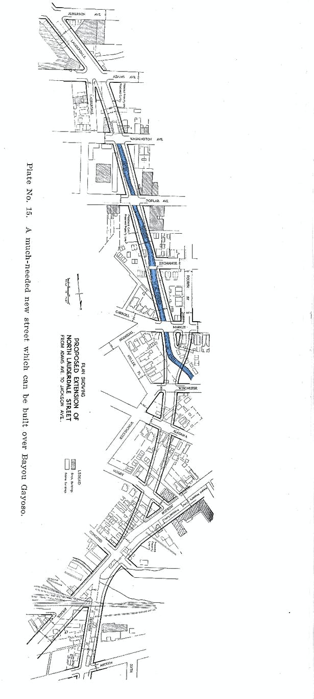 Plan showing the Gayoso Bayou covered by Lauderdale Avenue Ext.