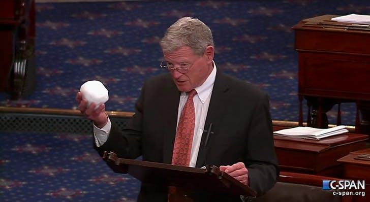 Senator Jim Inhofe brandishes a snowball during a Congressional session as evidence for his argument that climate change is a hoax. Credit: CSPAN via Youtube