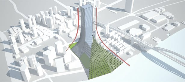 Through a spiral course the Vetiver 'mountain' can fit perfectly with the building, which will house commercial spaces, offices, hotel rooms and panoramic view apartments at the top. The north slope gives formal and structural balance to the project ensuring panoramic views over Luwan district