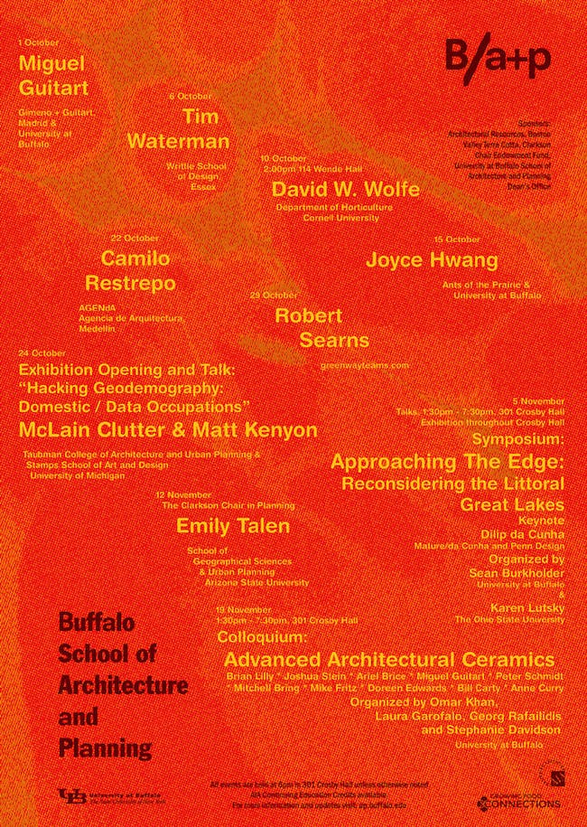 Fall 2014 public programs for the University at Buffalo School of Architecture + Planning.