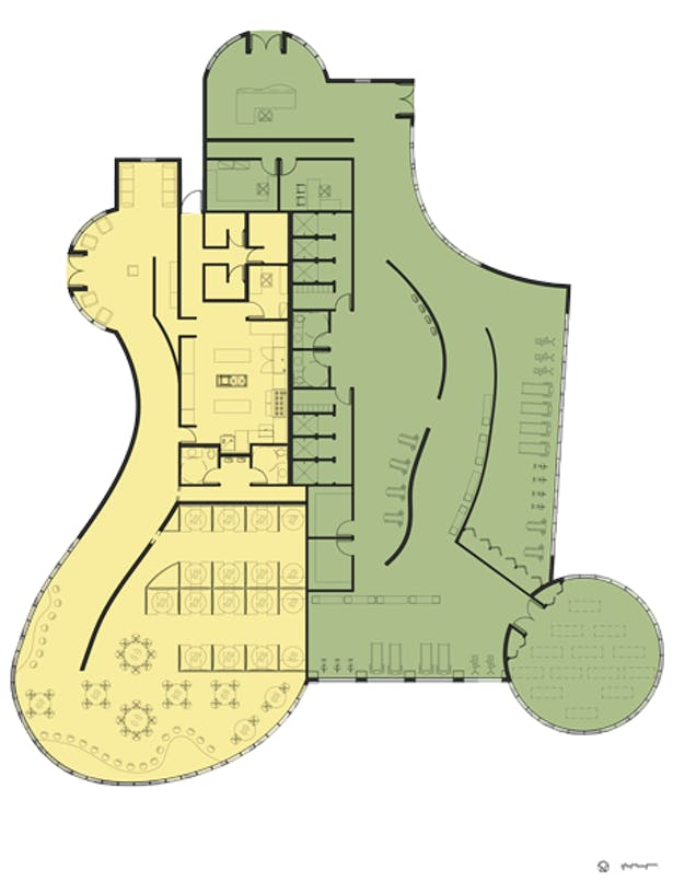 Rooted Restaurant and Tea Room / Evolve Fitness Center Floor Plan: AutoCAD, Adobe Photoshop