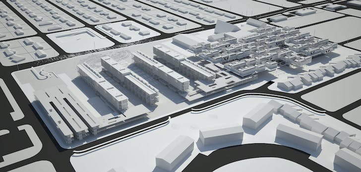 Rendering of Visible Weather's Simultaneous City project for Temple Terrace, Florida. Image courtesy Michael Bell, Eunjeong Seong: Visible Weather.