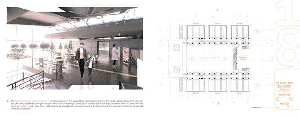 2nd Level Lobby Perspective / 2nd Level Mechanical Plan