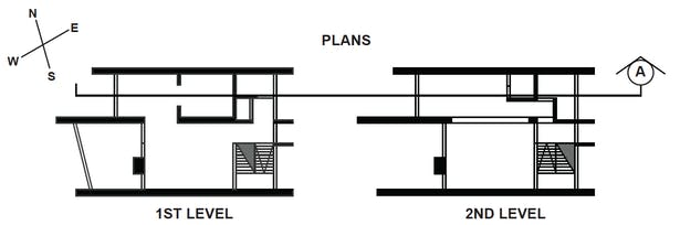 A plan of a unit that displayed the idea of section space within. There were public areas, circulation, and private.