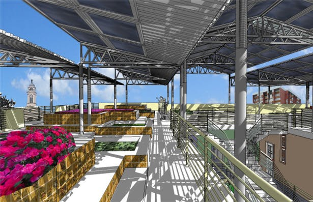 roof top garden shaded with solar panel system