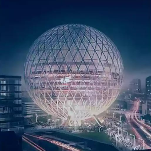 According to The Guardian, early designs for the enormous spherical music venue have been attributed to Populous as design architects. Image via The Guardian.