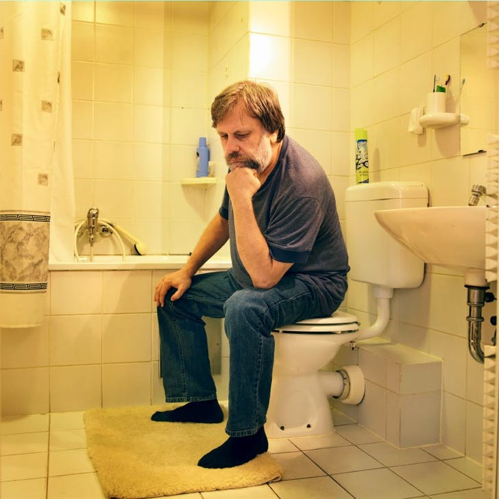 Slavoj Zizek on the toilet. From: 'The Pervert's Guide to Ideology' (2012)