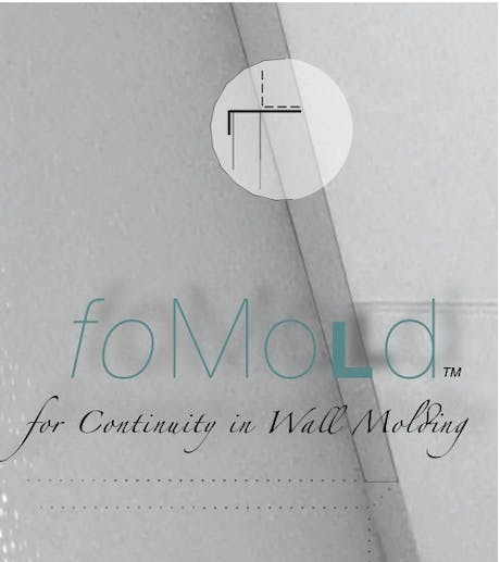 Introduced ceiling trim product, 'foMold' for office tenant acoustical ceiling perimeters, Crafted specifically for use at ceiling height partitions where the standard wall angle molding is typically absent, foMold functions as the aesthetic equivalent, providing a continuity in perimeter trim throughout the space, thus the 'faux' of foMold. See 'foMold' on Facebook.