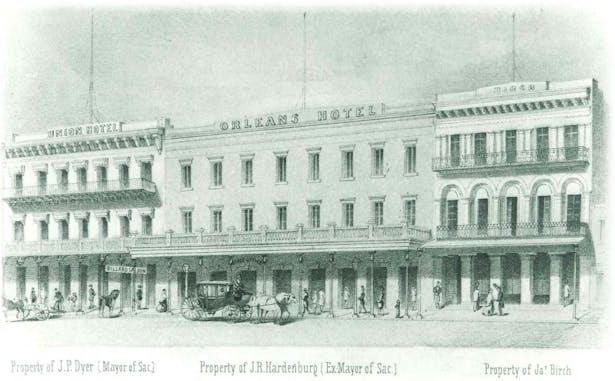 The Orleans; originally called Orleans Hotel, 1855 rendering