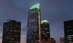 Wilshire Grand, the tallest building in Los Angeles, lights up over the weekend