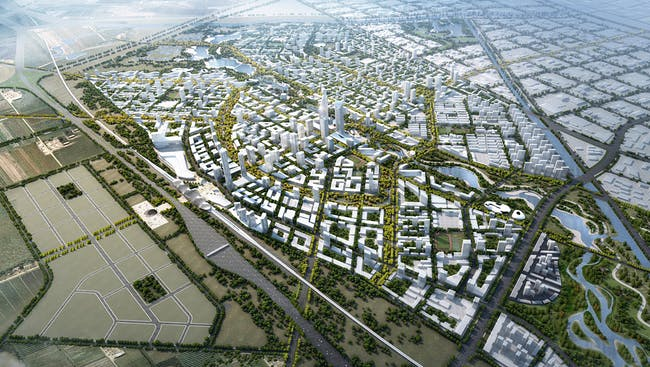 Aerial view of SOM's competition-winning Beijing Bohai Innovation City master plan (Image: SOM)