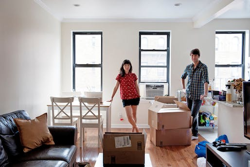 "Kathleen Kim and Brian Witte moved into a three-bedroom, one-bath rental in leafy Sunnyside, Queens, after giving up on finding suitable quarters in Brooklyn. Hesitant at first about the move, they find they like the ""small town in the big city feel,"" Mr. Witte says. Credit Emily Andrews for..."