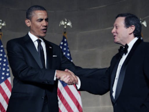 President Barack Obama, left, shakes hands with Thomas Pritzker on stage at the Pritzker Architecture Prize Even at Andrew Mellon Auditorium, Thursday, June 2, 2011, in Washington. (AP Photo/Carolyn Kaster) (Carolyn Kaster)